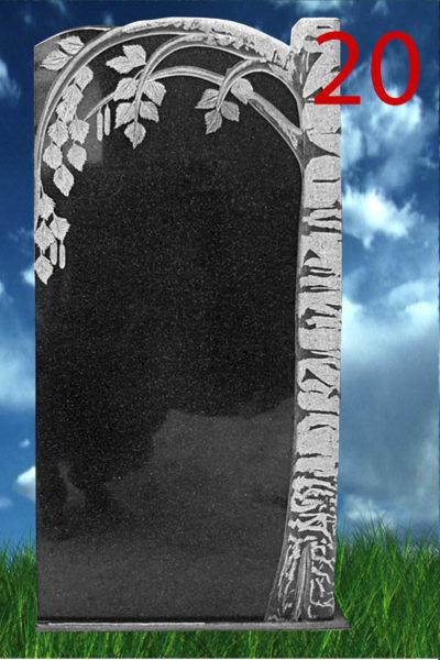 Гранитный памятник с вырезанной березой