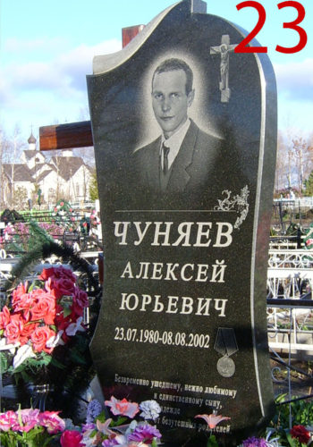 Гранитный памятник на кладбище после установки