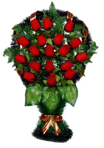 Корзина В-30б большие бордовые розы