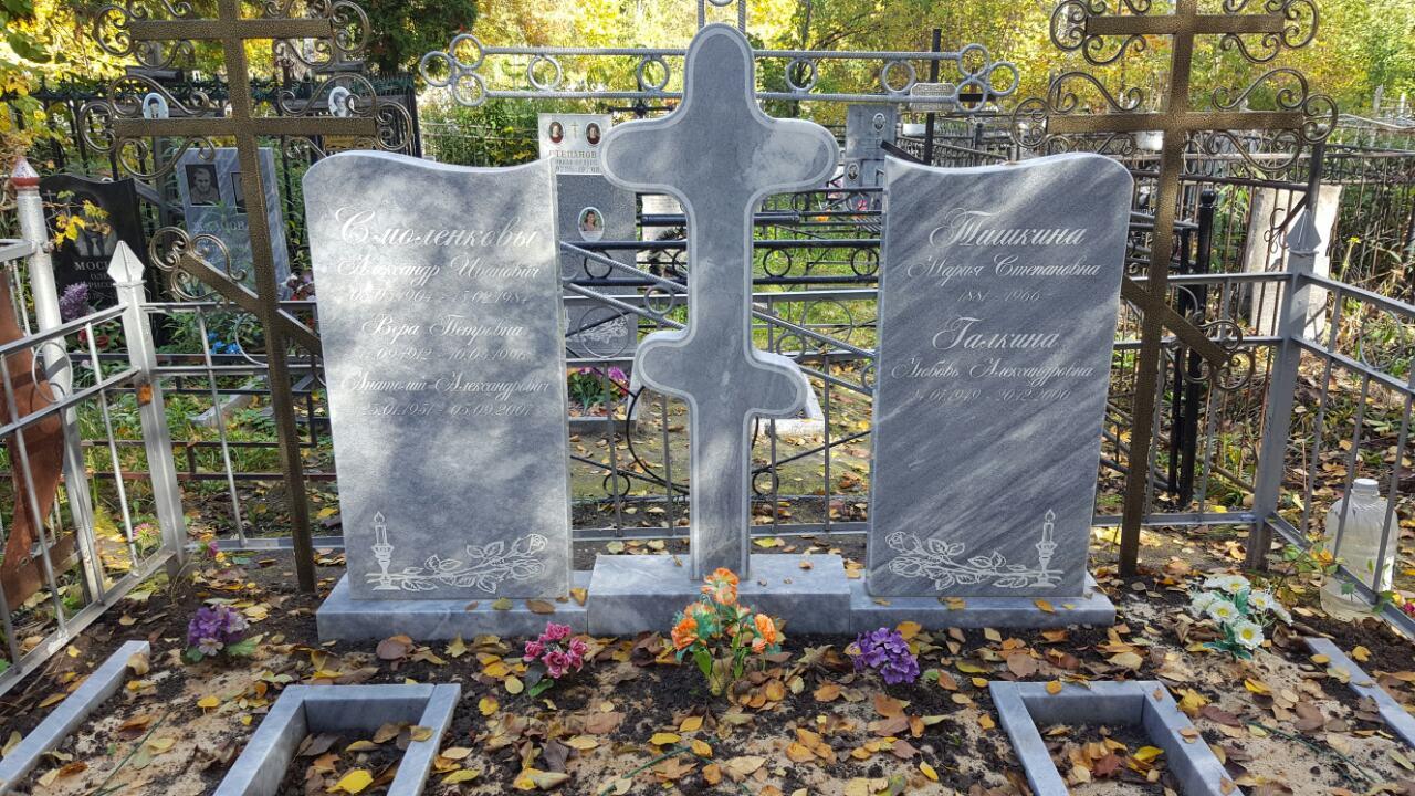 Мраморные памятники + мраморный крест Петропавловское кладбище